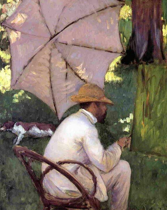 peinture française : Gustave Caillebotte peignant sous un parasol, ombrelle, 1873