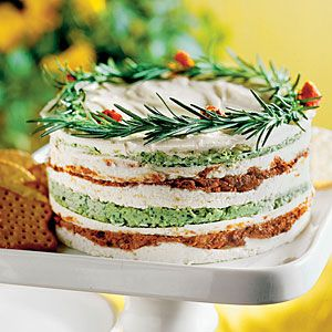 Layered Sun-dried-Tomato-and-Basil Spread:   You can save time by making this recipe up to 3 days before the party.  25 Show-Stopping Appetizers | Layered Sun-dried-Tomato-and-Basil Spread | SouthernLiving.com