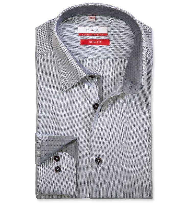 Slim Fit priliehavá košeľa Modrá štrukturová 100% bavlna Oxford (panama)