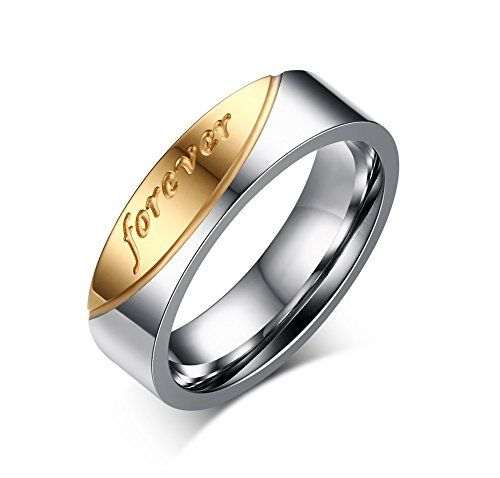 AMDXD Free Engraving Tungsten Steel Rings for Men Round Rose Gold Wedding Bands 8MM oUH3PSBUOl