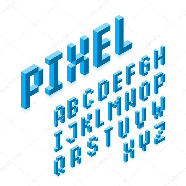 Isometric 3d Pixel Font — Stock Vector ...
