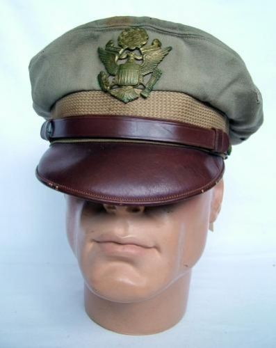USAAF 'Tropical' Bancroft Flighter Visor Cap  Pale tan cotton lightweight cap with a single thickness (true crusher type) chocolate brown peak. Yellow satin lining with greasecloth crown.