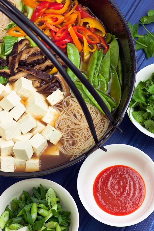 ONE-POT ASIAN NOODLES: I like this recipe ... loaded with veggies and a nourishing broth. Choose your protein (tofu, chicken, tender beef or shrimp) #glutenfre