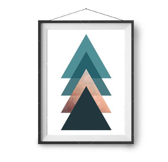 Teal Art, Copper Printable, Geometric Art, Scandinavian Poster, Home Decor, Minimal Art, Abstract Wall Art, Digital Download, Triangles Art