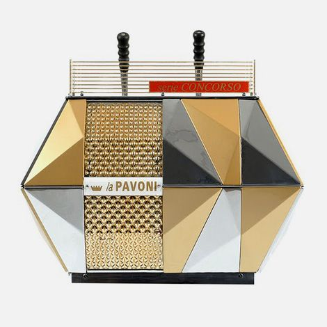 The multi-faceted looks of La Pavoni 'Concorso' coffee machine from 1956, designed by Bruno Munari and Enzo Mari.