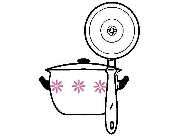 cocina dibujos utensilios dibujo colorear olla pintado dia blanco cocineros moldes dibujoscolorear guardado desde