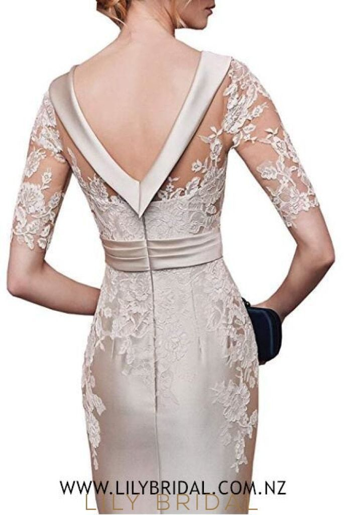 Elegant Lace Illusion Scoop Neck Half Sleeves Short Sheath Mother of the Bride Dress