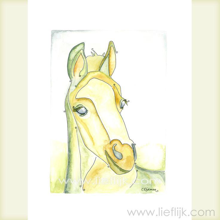 Poster Aquarel Paard -- een print van het originele aquarel. Een afbeelding van een sierlijk en vriendelijk paard. Deze poster is een mooi cadeau voor jezelf of voor een ander. Je kunt de poster zo ophangen, of inlijsten. -- Details:  Afbeelding: ca.28 cm x 20 cm  Papier: 29,7cm x 21 cm (A4 formaat)  Papierdikte: 250gr, mat  Het watermerk wordt vanzelfsprekend niet afgedrukt! www.lieflijk.com