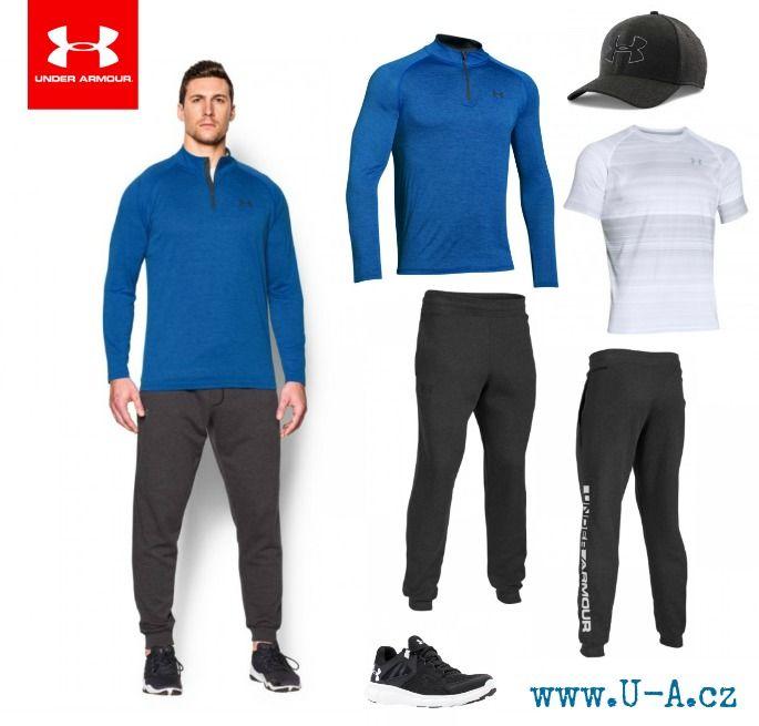 Pánské sportovní oblečení Under Armour, skvělé na běh i fitness - teplákové kalhoty, tričko, mikina, čepice a boty