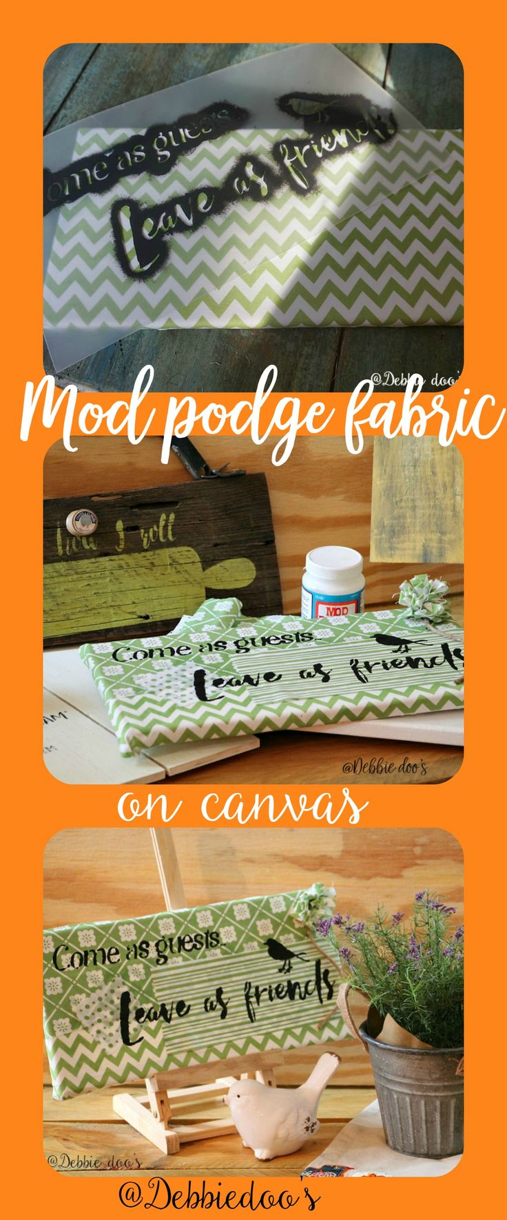 How to mod podge on canvas and make your own fun art work with a stencil @Debbiedoo's