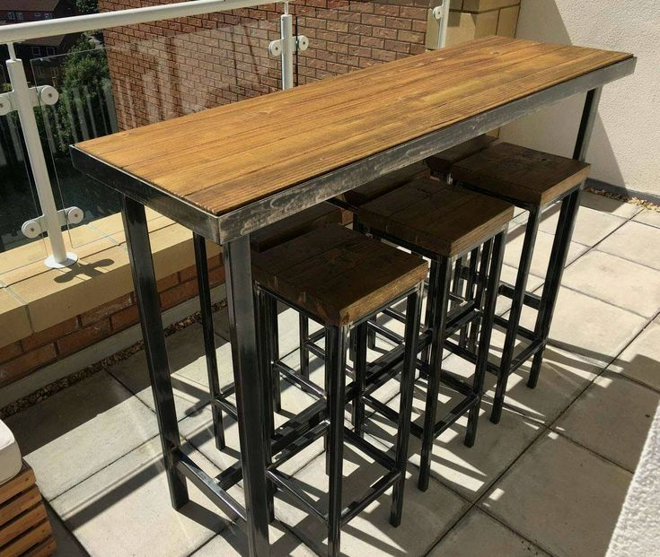 Handmade Bespoke Modern Industrial Outdoor Or Indoor Long Bar Table Six Stools Add An Modern Urban Bar Table Modern Industrial Decor Urban Industrial Decor