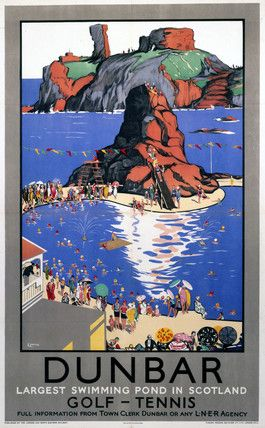 Dunbar Largest Swimming Pool in Scotland Vintage Scottish Railway Travel Poster