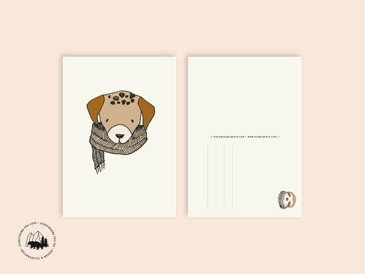 Sommer - Hund   Postkarte - ein Designerstück von everywhereyougo bei DaWanda