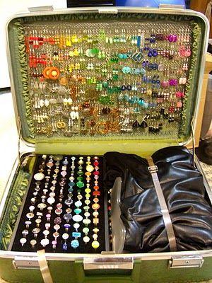 thriftstore suitcase to jewellery display - genius
