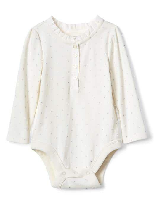 Dotty ruffle henley bodysuit