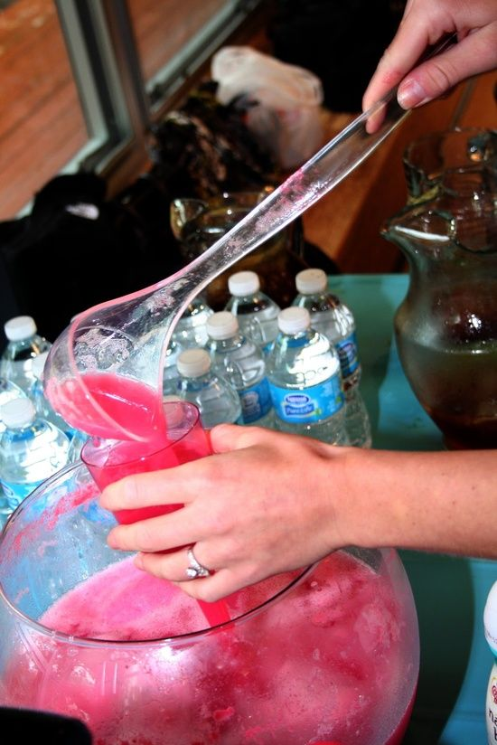 Pink Party Punch  1 2qt pitcher of pink lemonade  1 2qt container of raspberry sorbet  1 2 liter bottle of lemon-lime soda  Add all ingredients to a punch bowl and serve.
