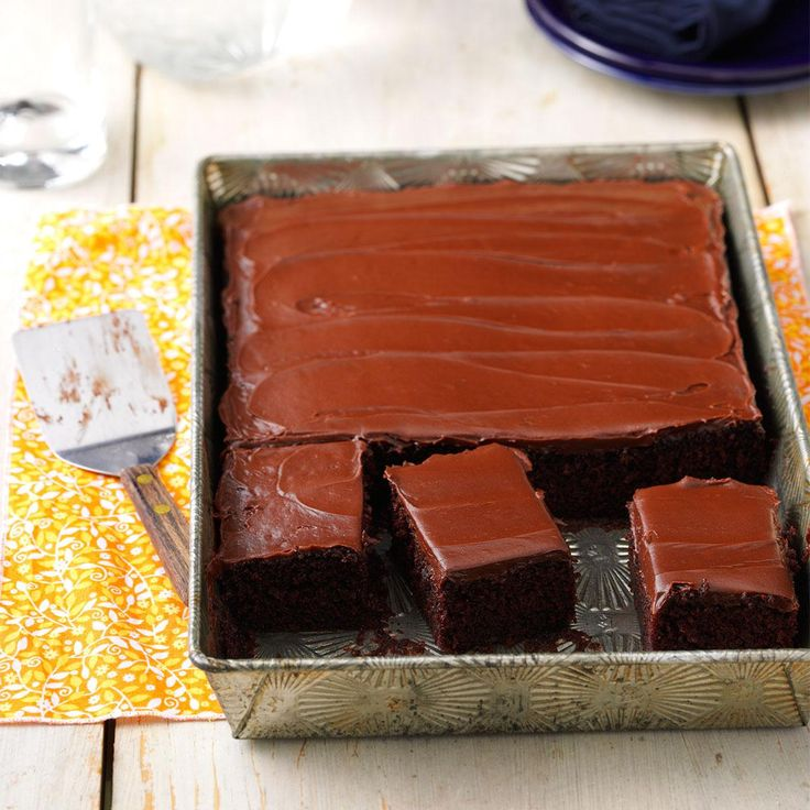 One-Bowl Chocolate Cake Recipe -This cake mixes up quickly and bakes while we enjoy our dinner. My son, David, loves to help decorate it. —Coleen Martin, Brookfield, Wisconsin