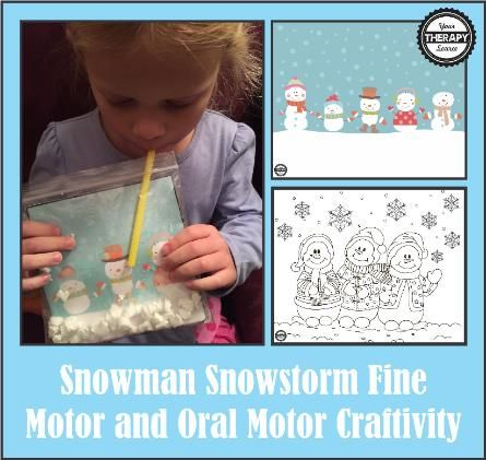 Snowman Fine Motor and Oral Motor Craft - FREE PRINTABLES TO CUT AND COLOR