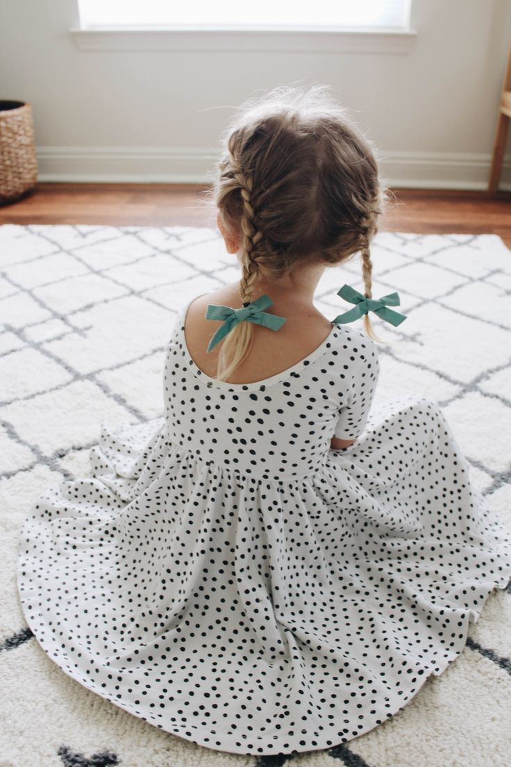 "Girls Dress by Alice and Ames. ""Bird Pigtail Set"" by Free Babes Handmade. The perfect hair bow for your baby, toddler or little girl's free spirited style."