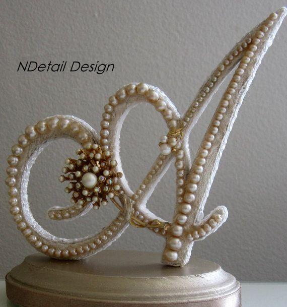 Monogrammed Custom Vintage Pearl Wedding Cake Topper & Display: Antique…