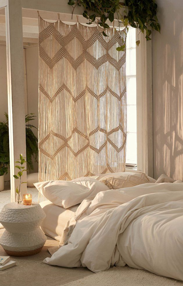 Holy Boho Inspo These Macrame Room Dividers Are Everything Hunker In 2020 Minimalist Bedroom House Styles Bedroom Design