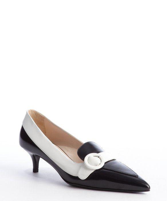 Prada black and white leather pointed toe kitten heel