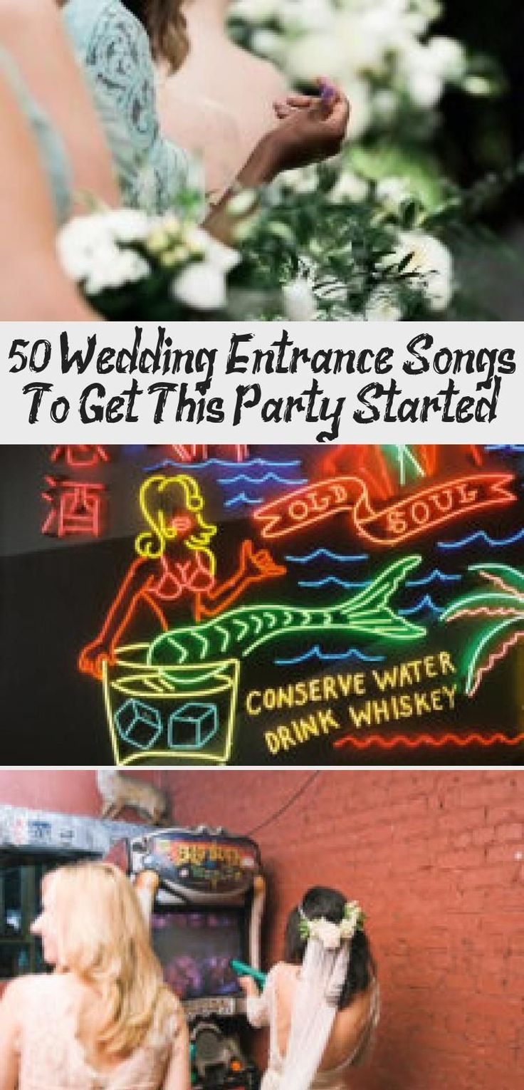 """""""50 perfect wedding entrance songs"""" in pink lettering"""