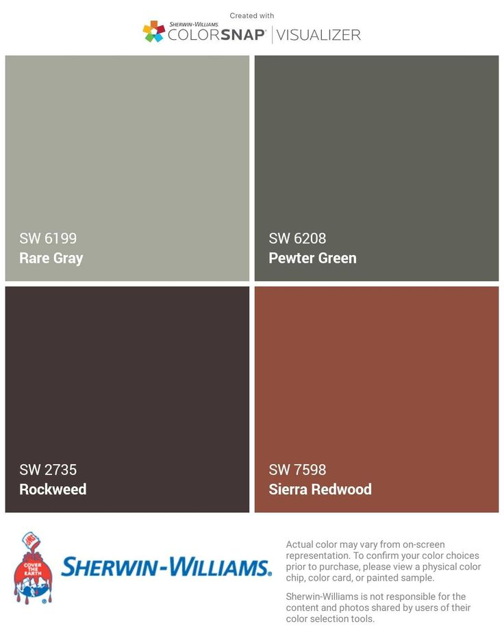 House color: Rare Gray, House Gables: Pewter Green, Roof Trim: Rockweed (dk brn roof), shutters, corbels and door stained red/brown