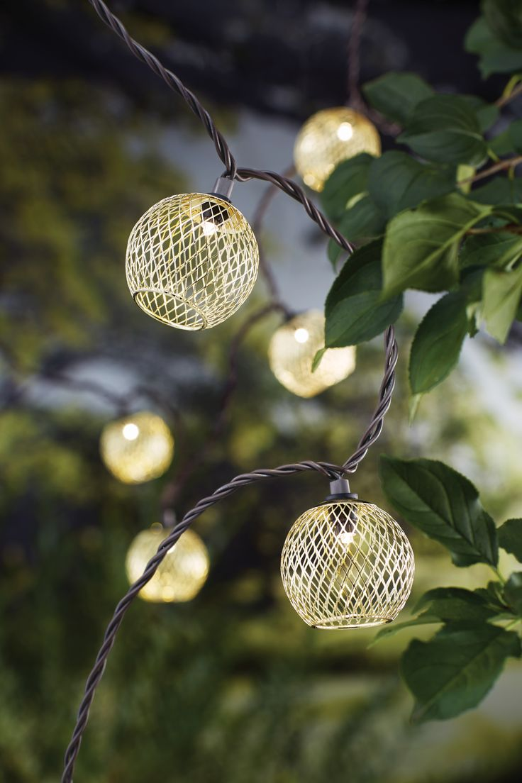 11 best decorative outdoor electric string lights images on light up your patio deck living room or dorm room with this 10ct metal mesh globe light set in gold decorative mini string lights bring the look of aloadofball Gallery