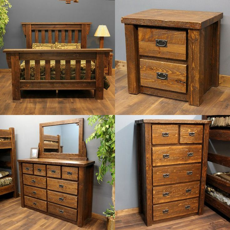 Timberwood Rustic Barnwood Bedroom Package queen headboardfootboard 2 drawer nightstand 4