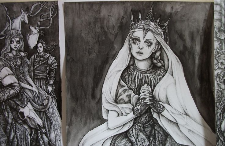 the fiarytale story 'The Queen and the Huntsman@ by Bia Helvetti ( which I am still busy illustrating) has a preview in quail bell magazine ...