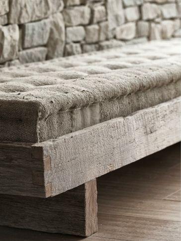 natural bench - wood - linen