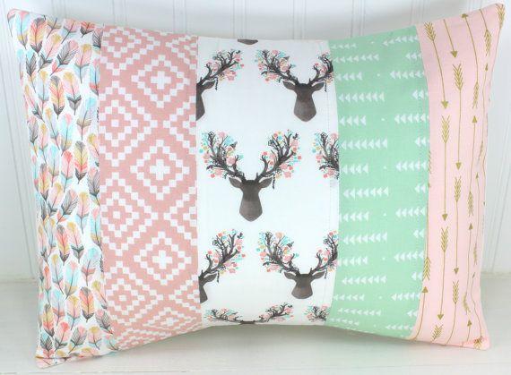 Nursery Pillow Cover, Pillow Cover, Nursery Decor, 12 x 16 Inch, Blush Pink, Deer, Bucks, Shabby Chic, Buck Heads, Gold, Tribal, Arrows,Boho