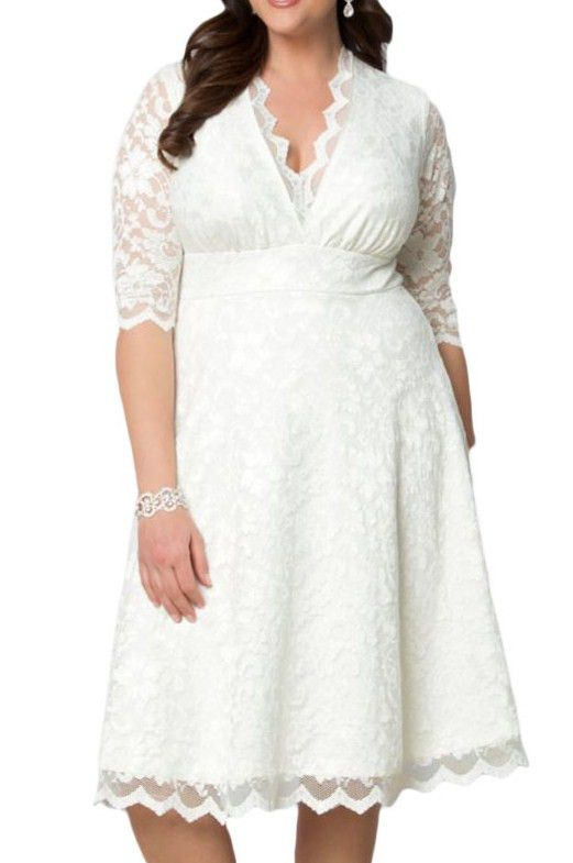 Prix: €22.17 Robes Soiree Formelle Dentelle Grandes Tailles Blanche Mi Longue Femme Modebuy.com @Modebuy #Modebuy #Blanc #robes #Grande