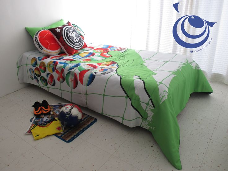 Conmemorativo Mundial de fútbol 2014 edredón para cama sencilla .ref Arquero, incluye 3 cojines inf guzmanconcept@outlook.com.