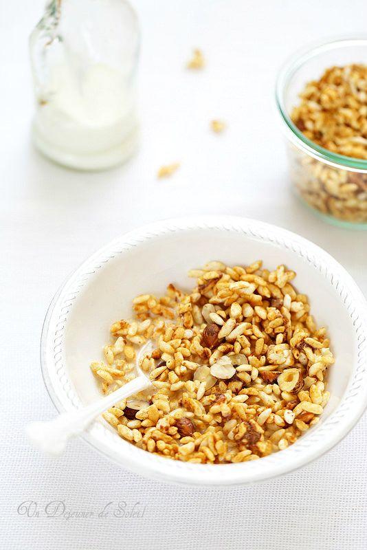 Granola au riz soufflé (sans gluten), érable, chocolat, noisettes