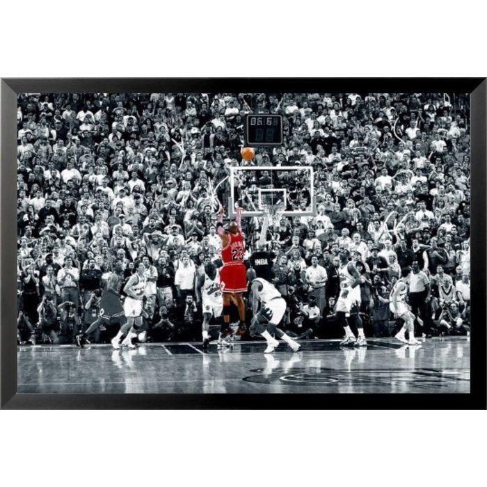 9be40807fe7  Michael Jordan - the Last Shot Sports - NBA Chicago Bulls Superstar Legend  Black and White Crowd  Framed Photographic Print.