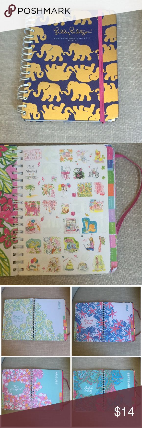 Lily Pulitzer Agenda(2016) Great Condition! Has some scratches on the front. Some stickers were used(see pictures) Not used in June-December 2016 Lilly Pulitzer Accessories