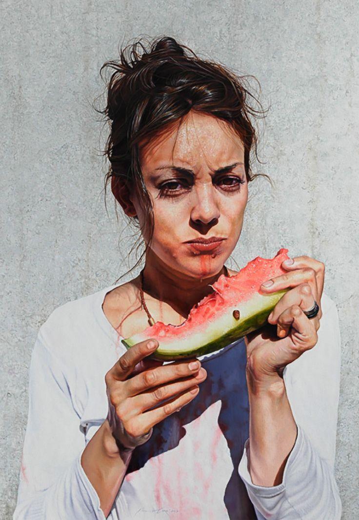 Artist: Mauro Cano (b. 1978), watercolor {figurative realism art beautiful female eating watermelon woman cropped painting #loveart}