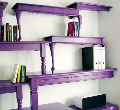purple table shelves