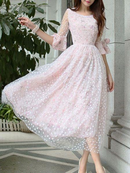 Round Neck Bowknot Plain Maxi-dress Maxi Dresses from fashionmia.com