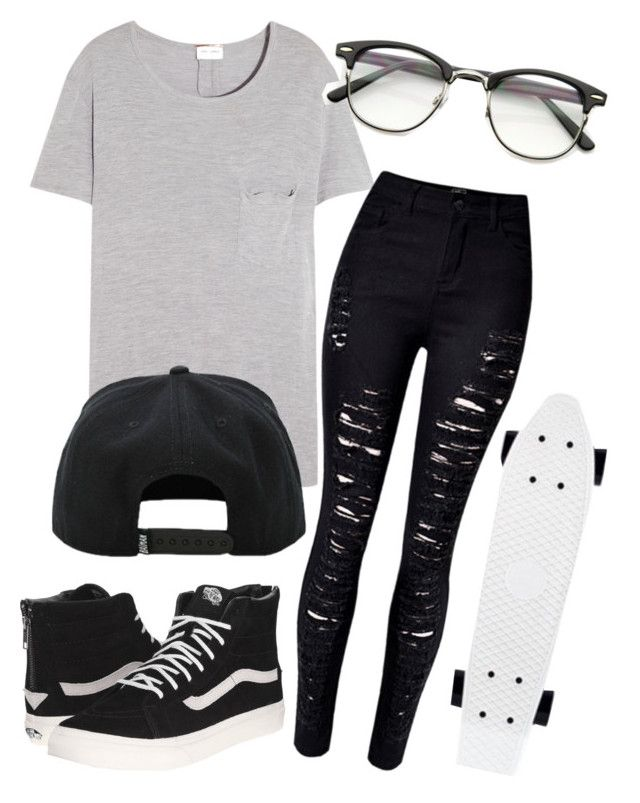 """Let's go Penny boarding!"" by eemaj ❤ liked on Polyvore featuring Yves Saint Laurent and Vans"