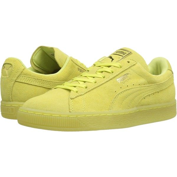 PUMA Suede Classic Iced (Soft Fluo Yellow/Gold) Women's Shoes ($37) ❤ liked on Polyvore featuring shoes, yellow, suede leather shoes, gold lace up shoes, round cap, laced shoes and laced up shoes