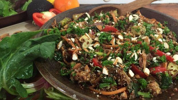 Quinoa, kumara and summer vegetable salad with cumin and tangelo dressing.