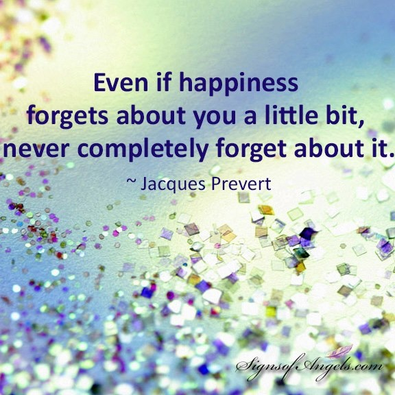 Even if happiness forget about you a little bit, never completely forget about it. ~Jacques Prevert