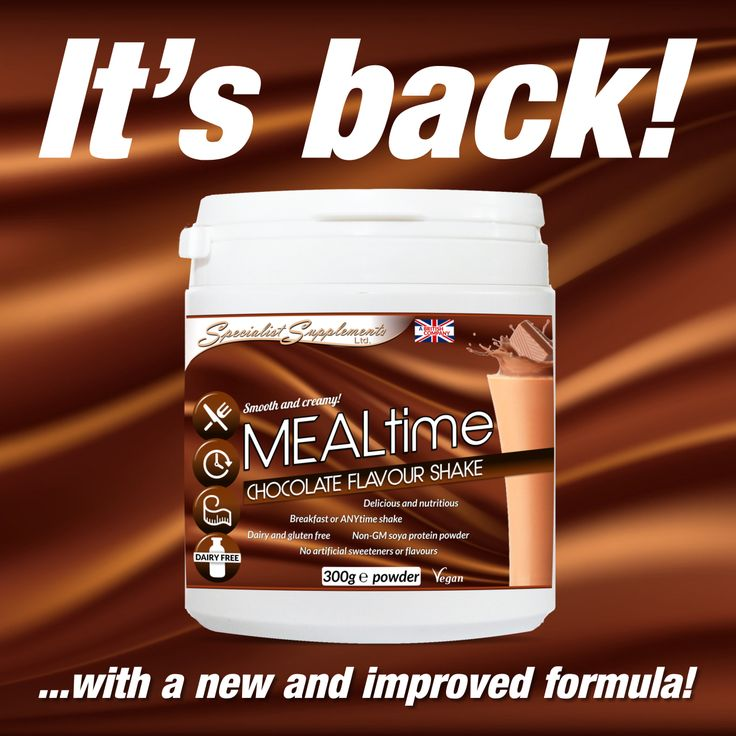 MEALTIME chocolate flavour: A dairy-free, gluten-free and vegan meal shake and protein powder that has been fortified with vitamins and minerals. High in protein, low in fat and with no artificial flavours or sweeteners, this chocolate-flavoured daily shake is also a good source of dietary fibre from psyllium husks. Tasty and filling!