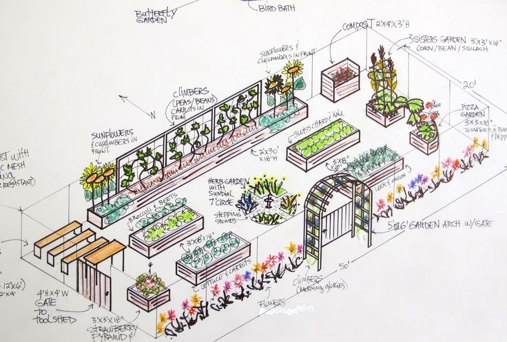 We have a beautiful 50' x 20' raised-bed garden design drawn up by Marjolaine Arsenault (Garden Spirit Landscaping). Description from northwarren.k12.ny.us. I searched for this on bing.com/images