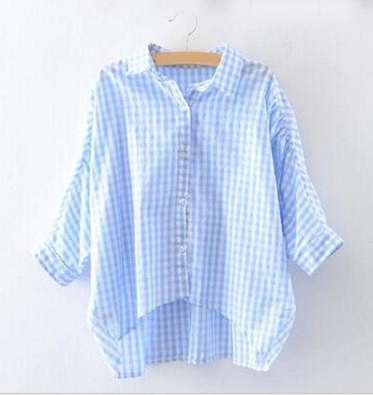 Новая! рубашка женская летучая мышь хлопок в клетку голубая белая, цена - 390,00 грн, купить по доступной цене | Украина - Шафа