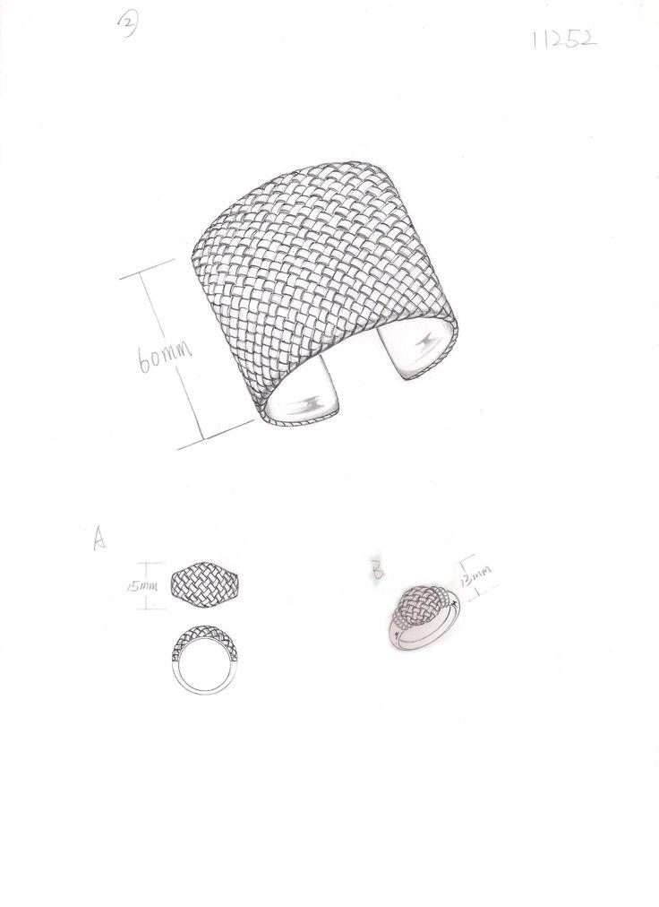 Ashley Morgan Sketch for Basket Weave Cuff Bracelet and