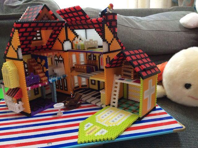 3D Little House project perler beads (inside) by Poppy Yu